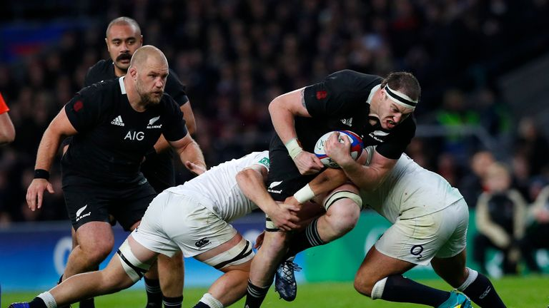 Brodie Retallick on the attack for New Zealand