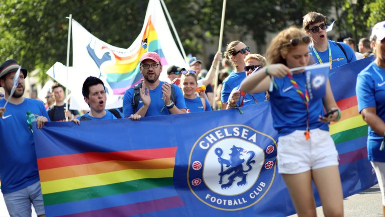 Chelsea Pride will fly the blue flag and the rainbow flag on behalf of the club on Saturday