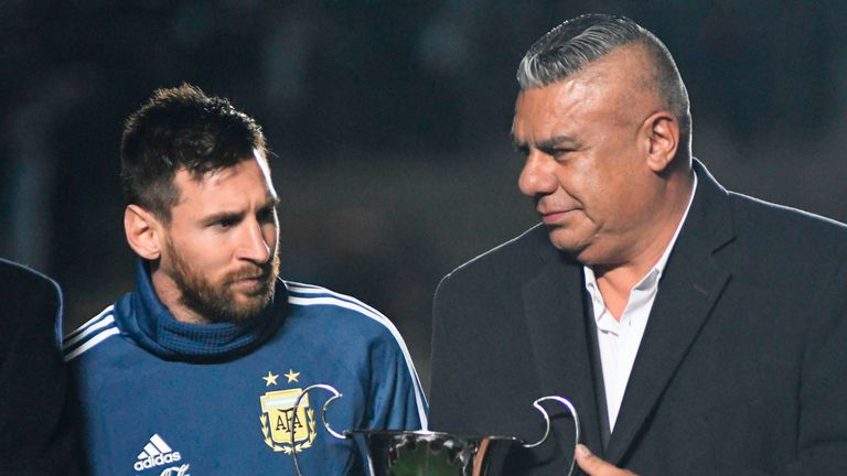 Claudio Tapia and Lionel Messi.