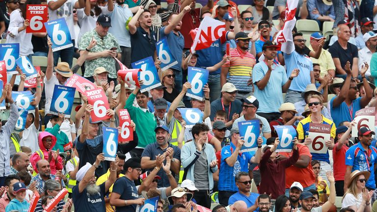 The crowd celebrate a six during the World Cup semi-final at Edgbaston