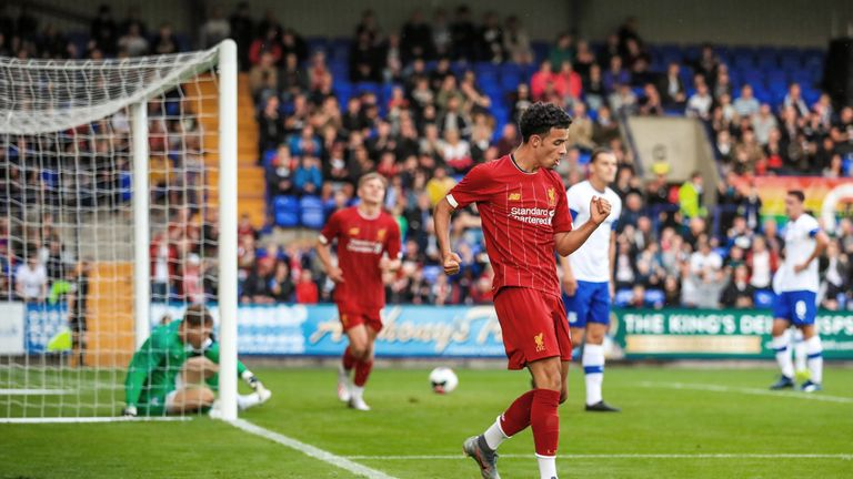 Liverpool's Curtis Jones celebrates scoring his side's fourth goal against Tranmere