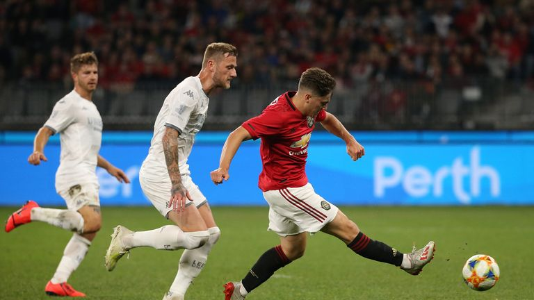 Daniel James strikes the post as his first Manchester United goal evaded him