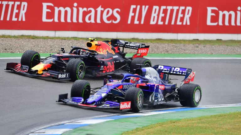 Red Bull's French driver Pierre Gasly and Kvyat compete during the German GP