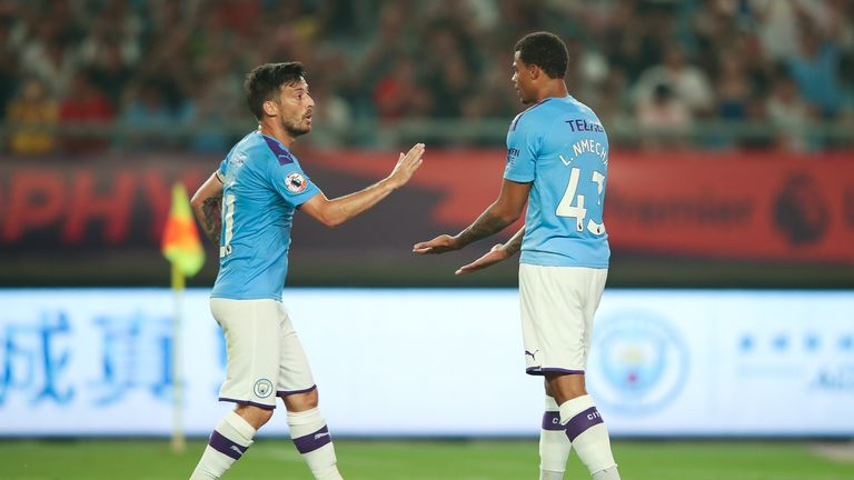 David Silva celebrates his goal with team-mate Lukas Nmecha