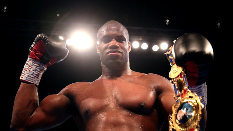 Daniel Dubois celebrates winning the Heavyweight Championship at the O2 Arena, London. PRESS ASSOCIATION Photo. Picture date: Saturday July 13, 2019. See PA story BOXING London. Photo credit should read: Nick Potts/PA Wire