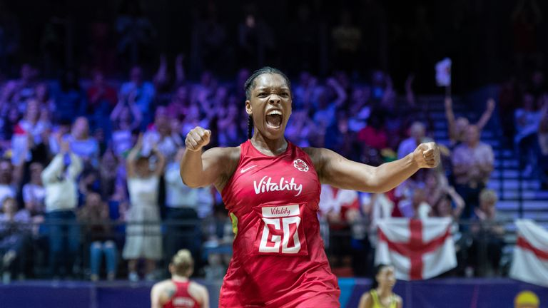 Eboni Usoro-Brown celebrated her 100th cap in style against the Sunshine Girls