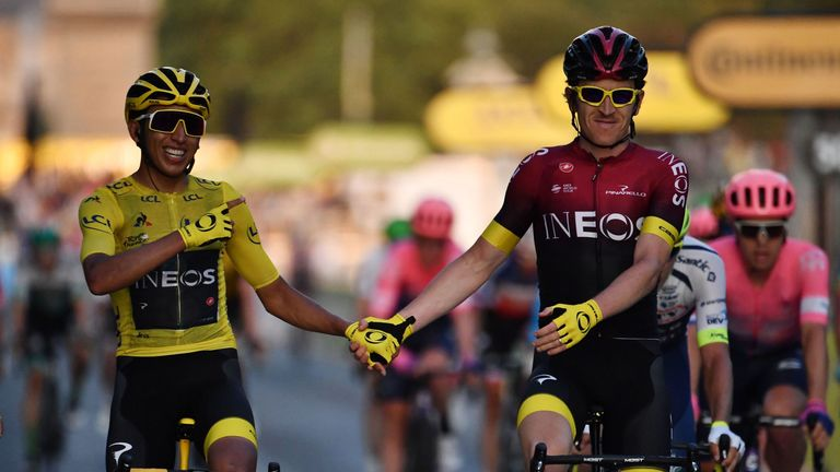 Egan Bernal (left) and team-mate Geraint Thomas celebrate their Tour de France success