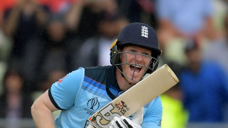 Eoin Morgan hit the winning runs to take England to the final at Lord's