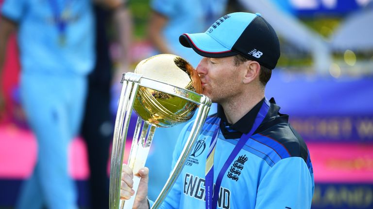 England captain Eoin Morgan kisses the Cricket World Cup trophy after a dramatic triumph for his side at Lord's