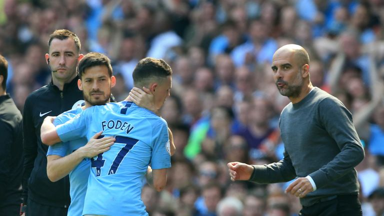 Phil Foden and David Silva
