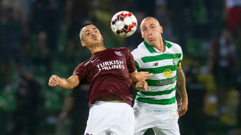 Celtic captain Scott Brown battles for the ball with Sarajevo's Stobodan Milanovic