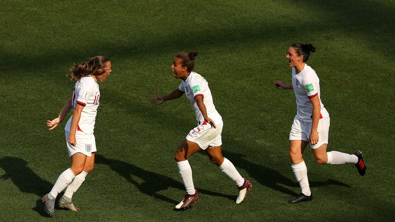 Fran Kirby celebrates after scoring for England Women