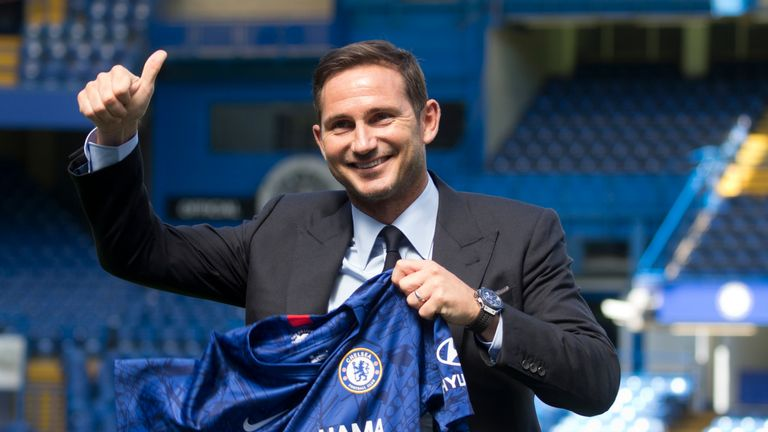 Chelsea's newly appointed head coach Frank Lampard gives a thumbs up as he poses for a photo at Stamford Bridge