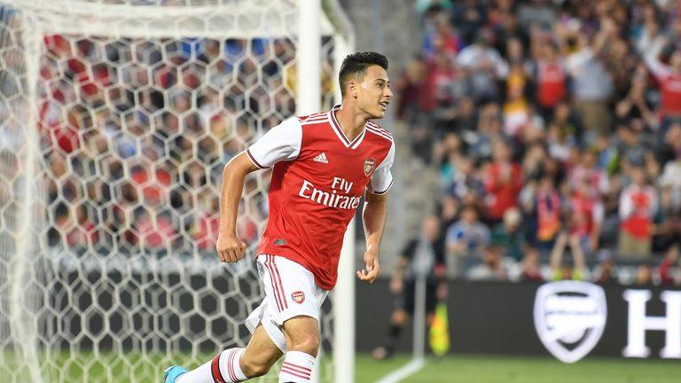 Gabriel Martinelli celebrates scoring Arsenal's third goal in their 3-0 win over Colorado Rapids in their pre-season friendly in Denver