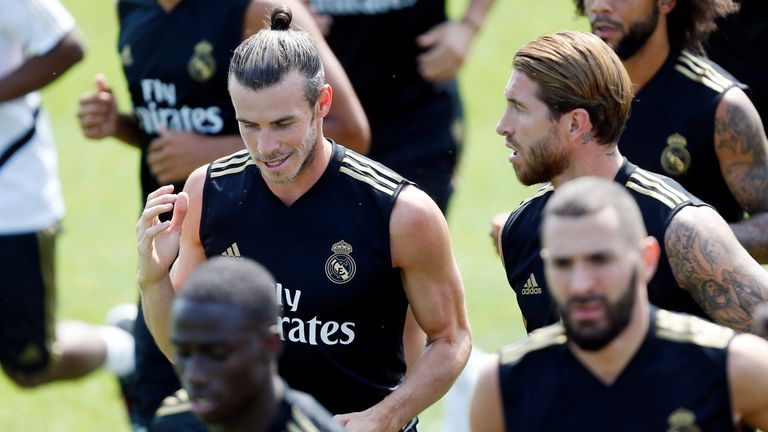 Gareth Bale trained with his Real Madrid teammates yesterday ahead of the game against Arsenal.