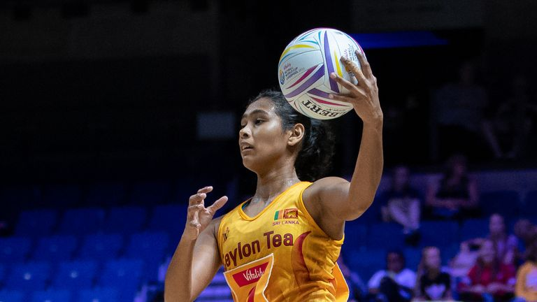 Gayanjali Amarawansa of Sri Lanka in action during the Vitality Netball World Cup match against Singapore
