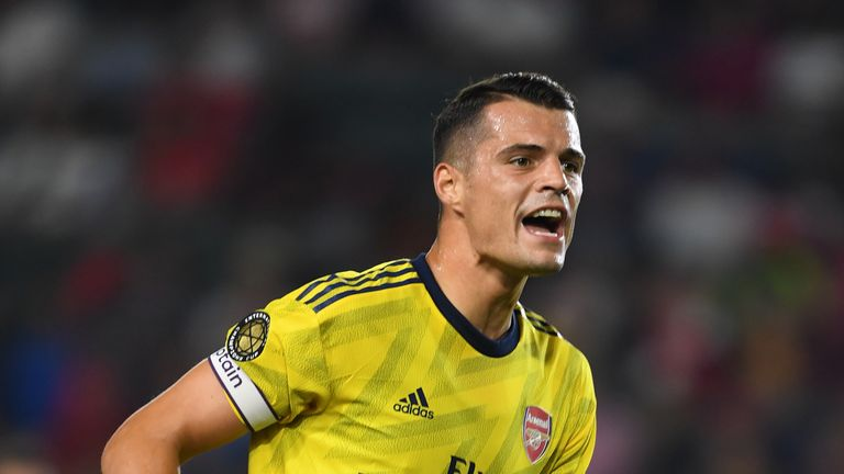 Granit Xhaka captained Arsenal during the first half at Dignity Health Sports Park