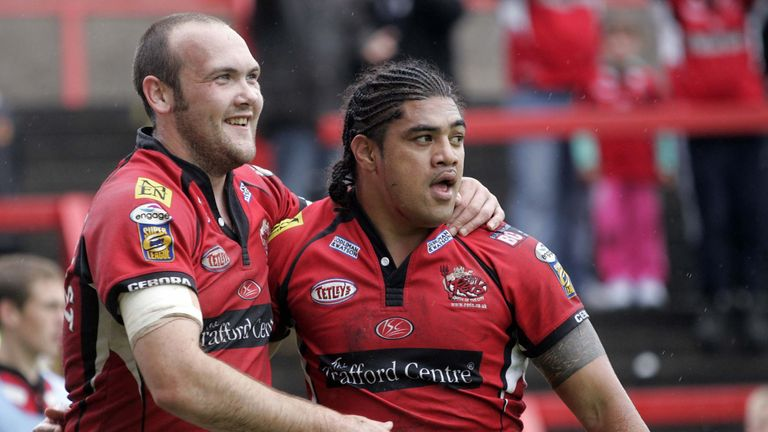 Gray Viane (right) finished off a lovely Salford move to touch down and help the Red Devils to an unexpected victory