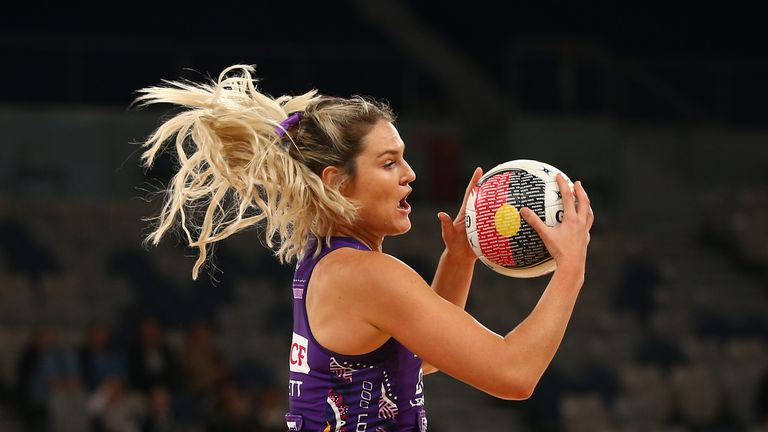 The unconventional GA Gretel Tippett in action for the Queensland Firebirds
