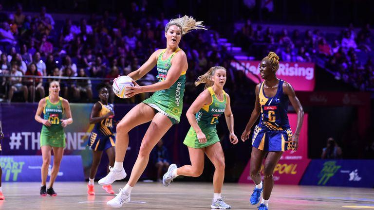 Australia's Gretel Tippett in Netball World Cup action