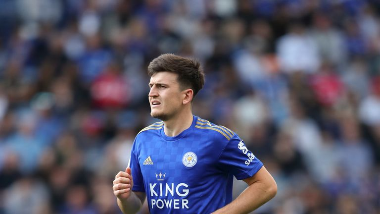 Harry Maguire in action for Leicester