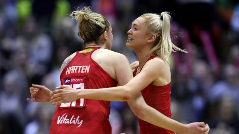 Jo Harten and Helen Housby will be looking to help England top Group D in the Netball World Cup