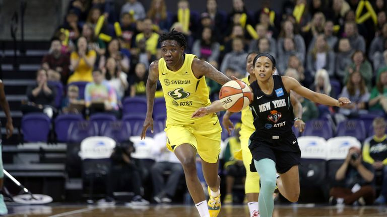 Natasha Howard in action for Seattle Storm against New York Liberty