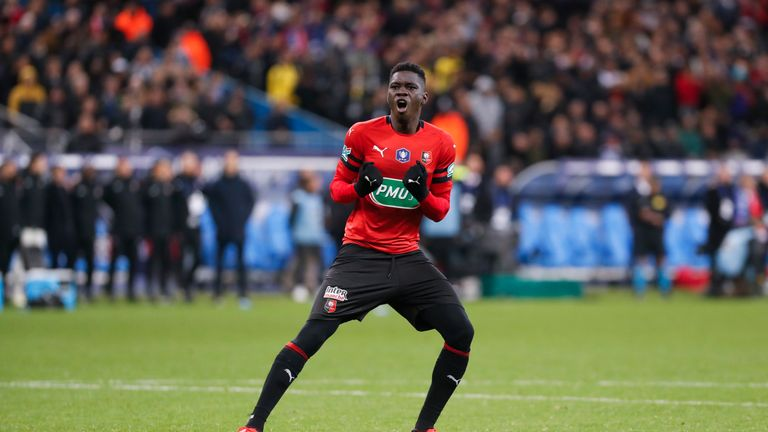 Ismaila Sarr in action for Rennes