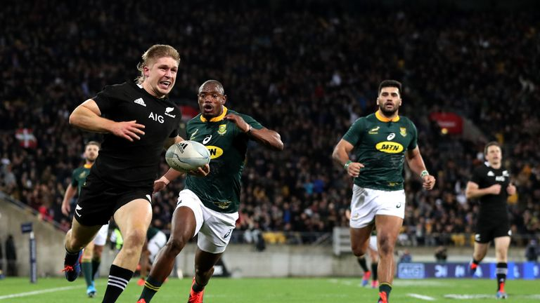 Jack Goodhue scores for the All Blacks