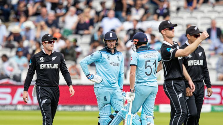 Jason Roy faced a nervous wait after New Zealand reviewed an lbw decision first ball