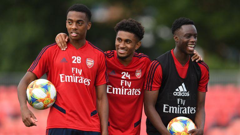 Joe Willock, Reiss Nelson and James Olayinka in pre-season training