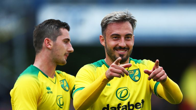 Josip Drmic netted a hat-trick for his new side Norwich