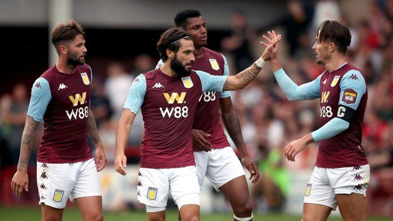 Jota with Jack Grealish at Aston Villa