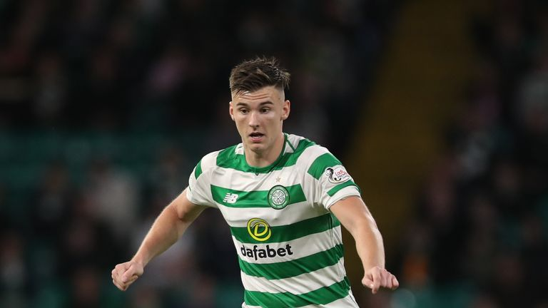 GLASGOW, SCOTLAND - AUGUST 30: Kieran Tierney of Celtic controls the ball during the UEFA Europa League Play Off Second Leg match between Celtic and FK Suduva at Celtic Park Stadium on August 30, 2018 in Glasgow, Scotland. (Photo by Ian MacNicol/Getty Images)