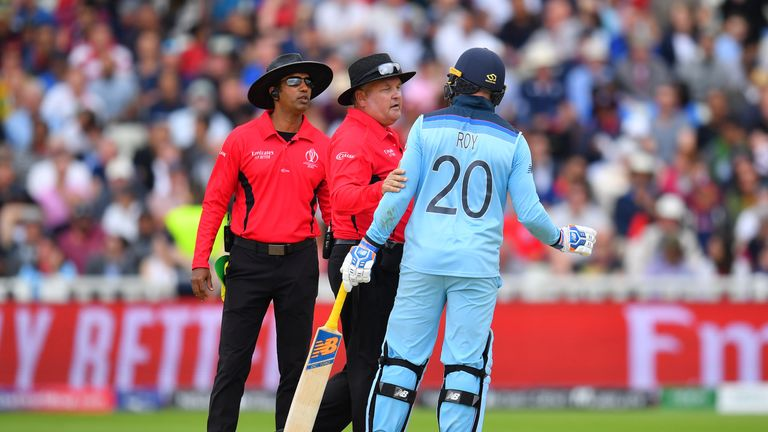 Jason Roy was furious after being given out caught behind by Kumar Dharmasena in the World Cup semi-final at Edgbaston