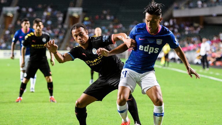 Leroy Sane scored twice as Manchester City eased to a 6-1 pre-season victory over Kitchee at the Hong Kong Stadium.