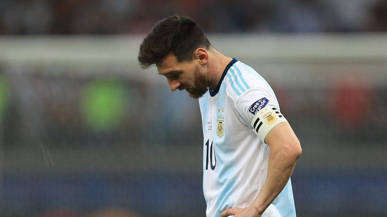 Messi looks dejected at full-time