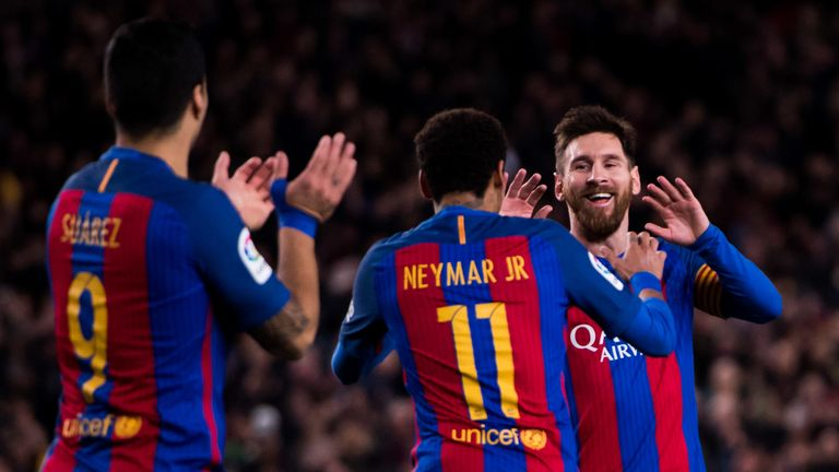 Messi, Neymar and Luis Suarez looked set to be linking up again