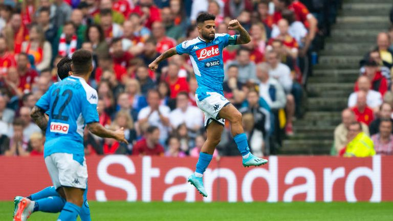 Lorenzo Insigne scored twice against Liverpool when the two sides met in pre-season