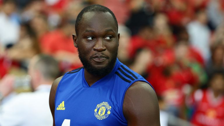 Romelu Lukaku turns up for training during Manchester United official training/press conference at the Singapore National Stadium on July 19, 2019 in Singapore.