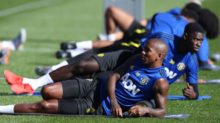Ashley Young stretches out on the WACA turf