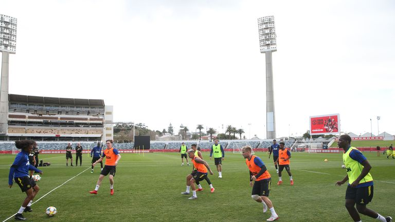 Manchester United trained at the WACA cricket pitch in Perth