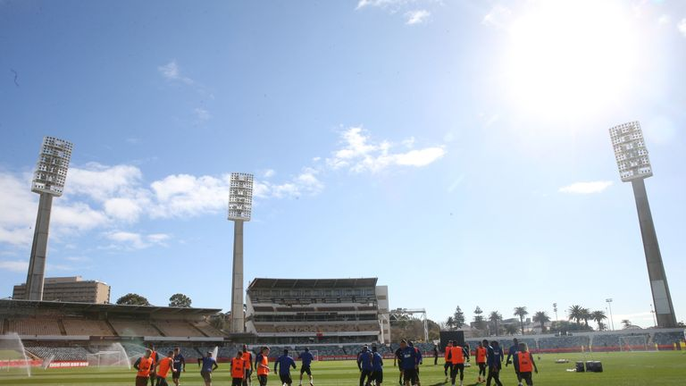 Manchester United trained under blue skies at the WACA in Perth