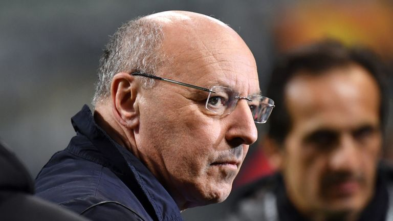 MILAN, ITALY - FEBRUARY 21: Giuseppe Marotta CEO of Inter during the UEFA Europa League Round of 32 Second Leg match between FC Internazionale and SK Rapid Wien at San Siro on February 21, 2019 in Milan, Italy. (Photo by Tullio Puglia/Getty Images)