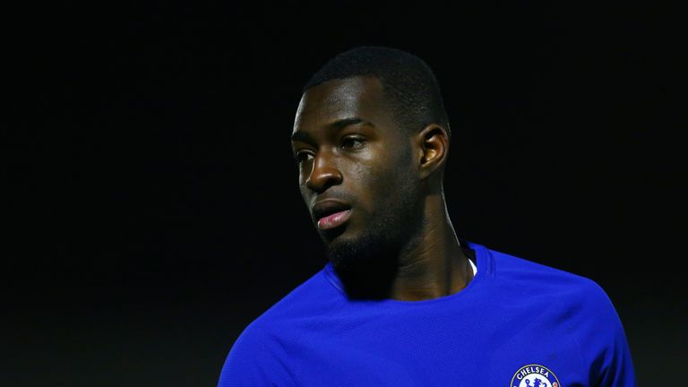 Martell Taylor-Crossdale during the FA Youth Cup Fourth Round match between Chelsea and West Bromwich Albion at Aldershot Town Football Club on January 17, 2018 in Aldershot, England.