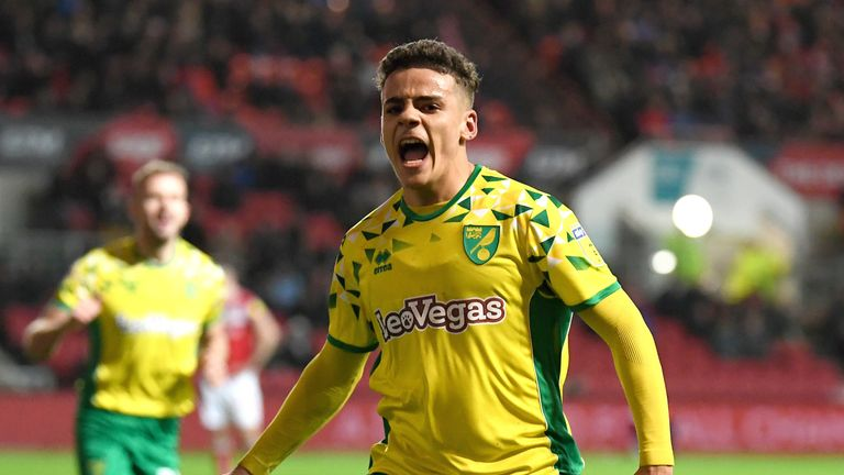 Max Aarons of Norwich City celebrates scoring his teams second goal during the Sky Bet Championship match between Bristol City and Norwich City at Ashton Gate on December 15, 2018 in Bristol, England
