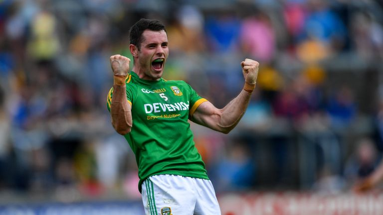 Donal Keogan of Meath celebrates at full-time