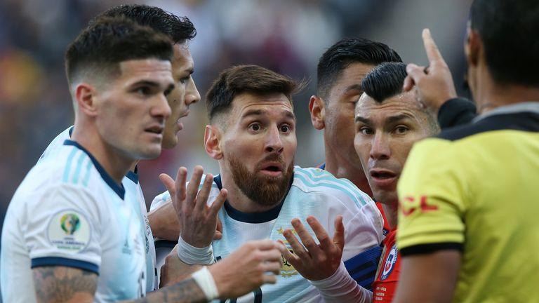Messi sent off for argentina