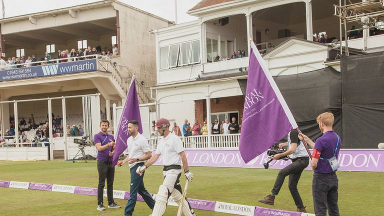 Nasser Hussain walks out to bat in the Royal London One-Over Challenge