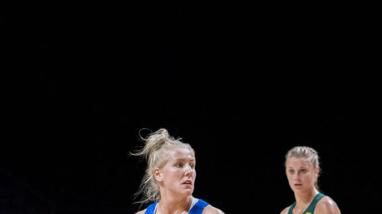 Nicola McCleery of Scotland playing in the Netball World Cup in Liverpool